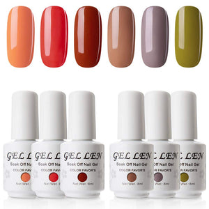 Gellen Gel Nail Polish 6 Colors Set, Fall Series Neutral Shade Nail Gel Colors - Caramel Brown Wood Pumpkin Trendy Nail Art Colors