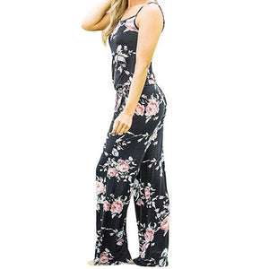 Boho Women Floral Sleeveless Holiday Long Playsuits