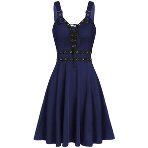 Women's Gothic Punk Sleeveless Strap Sling Dress