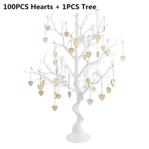 Simulated Wishing Tree Wood Heart Hanging