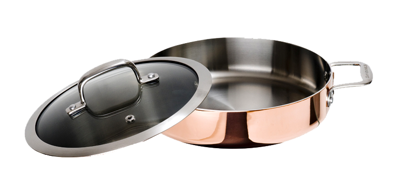 "Maestro Copper Stew Pan with Glass Lid- 10 1/4""(Includes Glass Lid)"