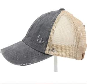 Criss Cross High Pony Washed Denim CC Ball Cap