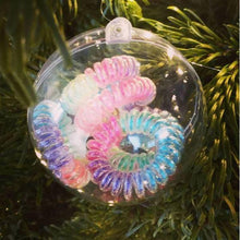Load image into Gallery viewer, Rainbow SpiraBobble Christmas Baubles| Hair Bobble & Hair Tie