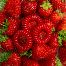 Load image into Gallery viewer, Red Alert SpiraBobble on top of some juicy red strawberries