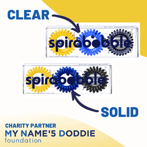 My Name'5 Doddie Foundation SpiraBobble Collection (Clear) | Packet of 6 Spiral Hair Bobbles