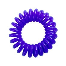 Load image into Gallery viewer, A solid purple coloured plastic spiral circular hair bobble on a white background called a spirabobble