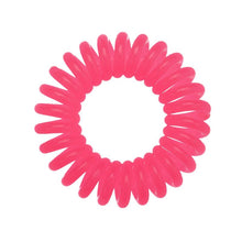 Load image into Gallery viewer, A rose pink coloured plastic spiral circular hair bobble on a white background called a spirabobble.