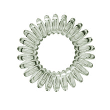 Load image into Gallery viewer, A barely black coloured plastic spiral circular hair bobble on a white background called a spirabobble
