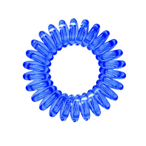 A blue coloured plastic spiral circular hair bobble on a white background called a spirabobble