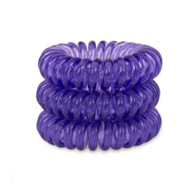 Load image into Gallery viewer, A tower of 3 deep purple coloured hair bobbles called spirabobbles. A purple plastic spiral circular hair tie spira bobble