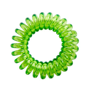 A lime time green coloured plastic spiral circular hair bobble on a white background called a spirabobble.