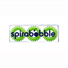 Load image into Gallery viewer, A flat transparent box of 3 lime time green coloured hair accessories called spirabobbles
