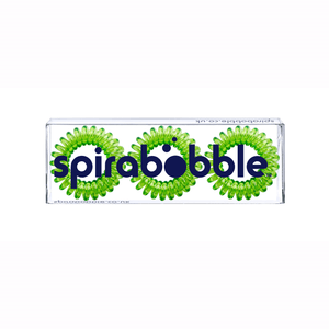 A flat transparent box of 3 lime time green coloured hair accessories called spirabobbles