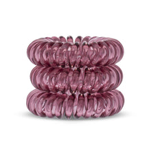 Load image into Gallery viewer, A tower of 3 maroon red coloured hair bobbles called spirabobbles. A red plastic spiral circular hair tie spira bobble