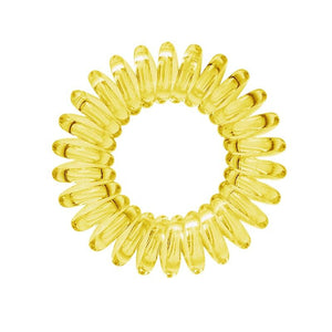 A mellow yellow coloured plastic spiral circular hair bobble on a white background called a spirabobble.