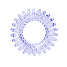 Load image into Gallery viewer, A navy blue clear coloured plastic circular hairband on a white background that looks like an old fashioned curly coiled telephone cable or a coiled spring which has been made into a circular shape