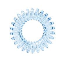 Load image into Gallery viewer, A pale blue coloured plastic spiral circular hair bobble on a white background called a spirabobble.