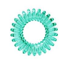 Load image into Gallery viewer, A serene green coloured plastic spiral circular hair bobble on a white background called a spirabobble.