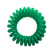 Load image into Gallery viewer, A green coloured plastic spiral circular hair bobble on a white background called a spirabobble.