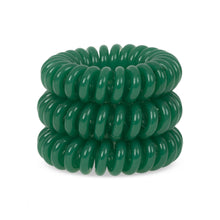 Load image into Gallery viewer, A tower of 3 green dream coloured hair bobbles called spirabobbles. A green plastic spiral circular hair tie spira bobble.