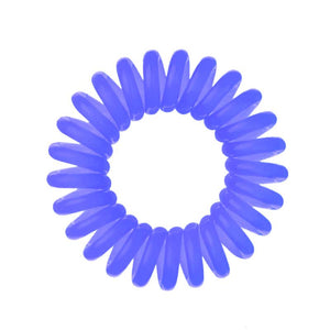 A purple power violet coloured plastic spiral circular hair bobble on a white background called a spirabobble.