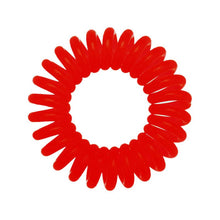 Load image into Gallery viewer, A red coloured plastic spiral circular hair bobble on a white background called a spirabobble.