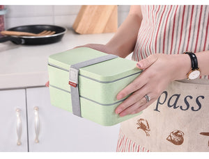 Double Layer Lunch Box With Spoon