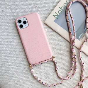 Silicone Soft Phone Case with Crossbody Lanyard