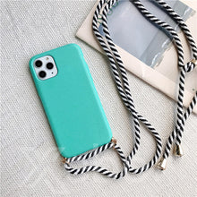 Load image into Gallery viewer, Silicone Soft Phone Case with Crossbody Lanyard