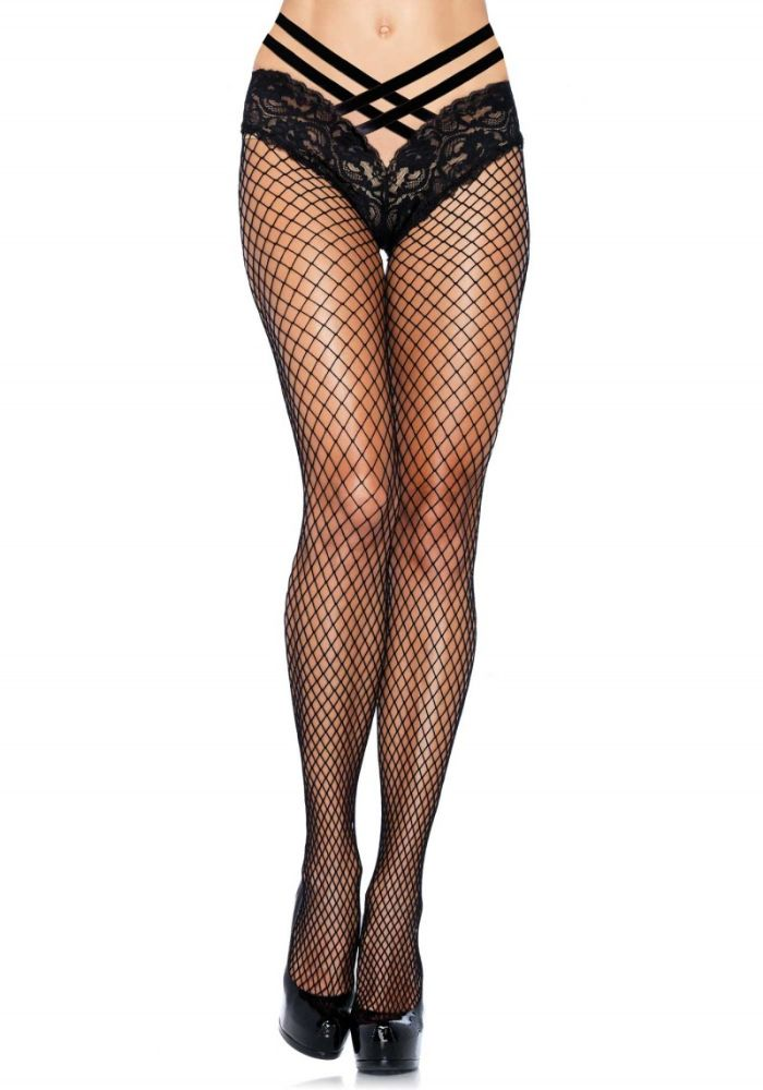 LEG AVENUE - NET PANTYHOSE WITH LACE PANTY