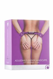 SHOTS - OUCH! ADJUSTABLE LEATHER HANDCUFFS PURPLE