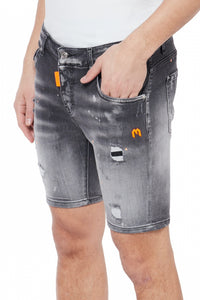 DENIM GREY NEON ORANGE SPOTTED SHORT