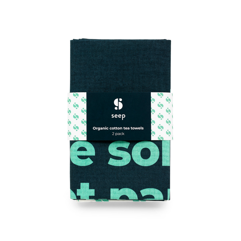 Seep organic cotton tea towels in navy