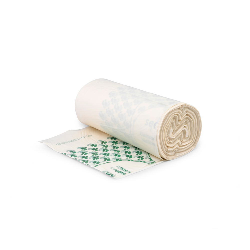 A rolled out 30L compostable bin liner roll