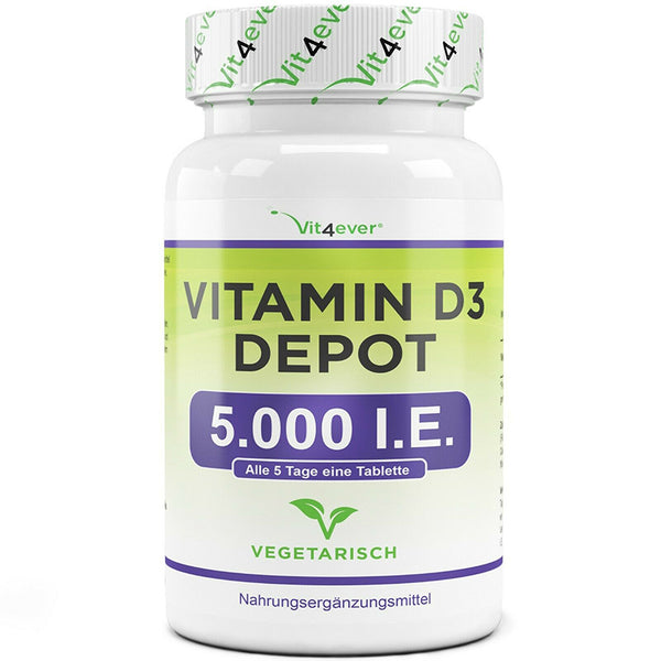 Vitamin D3 Depot 5000 I.E., 500 Tabletten - alterslos-leben