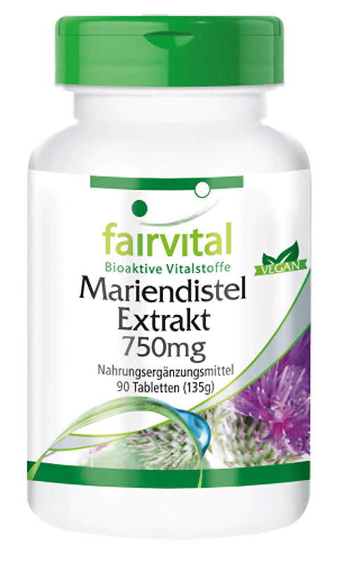 Fairvital Mariendistel Extrakt 750mg - 90 Tabletten - alterslos-leben