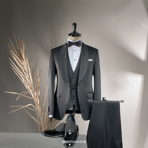 Three-piece Black Tuxedo Suit for Men
