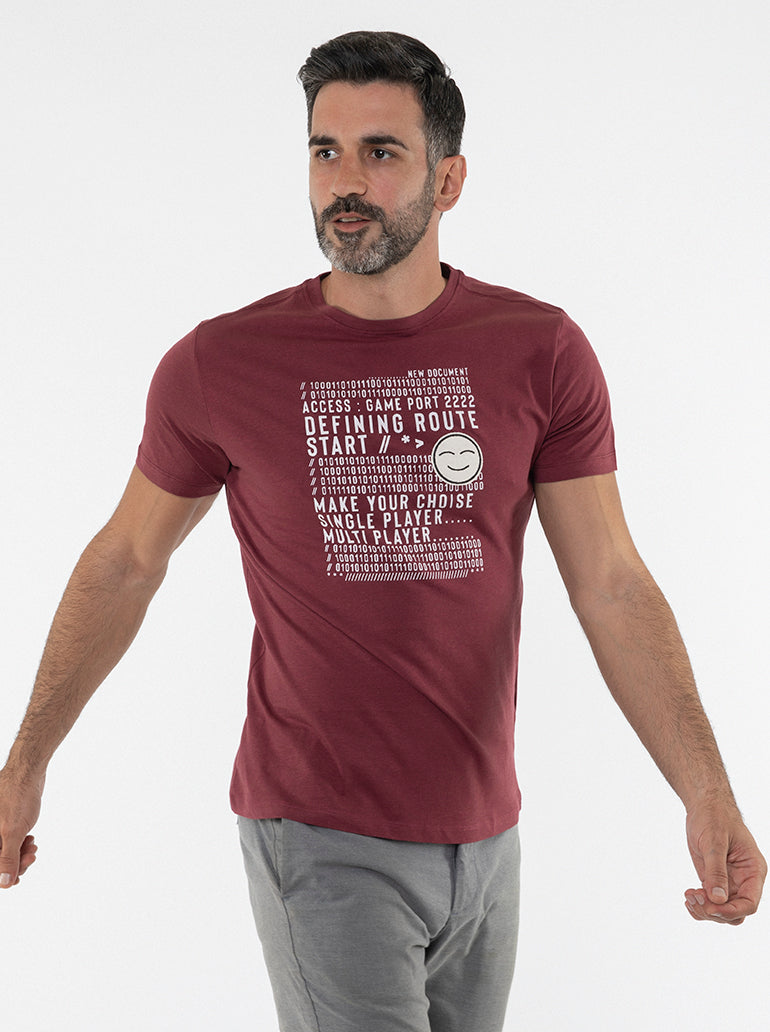 FRANCISCO TOLLI TAILORED MAROON T-SHIRT/POLO