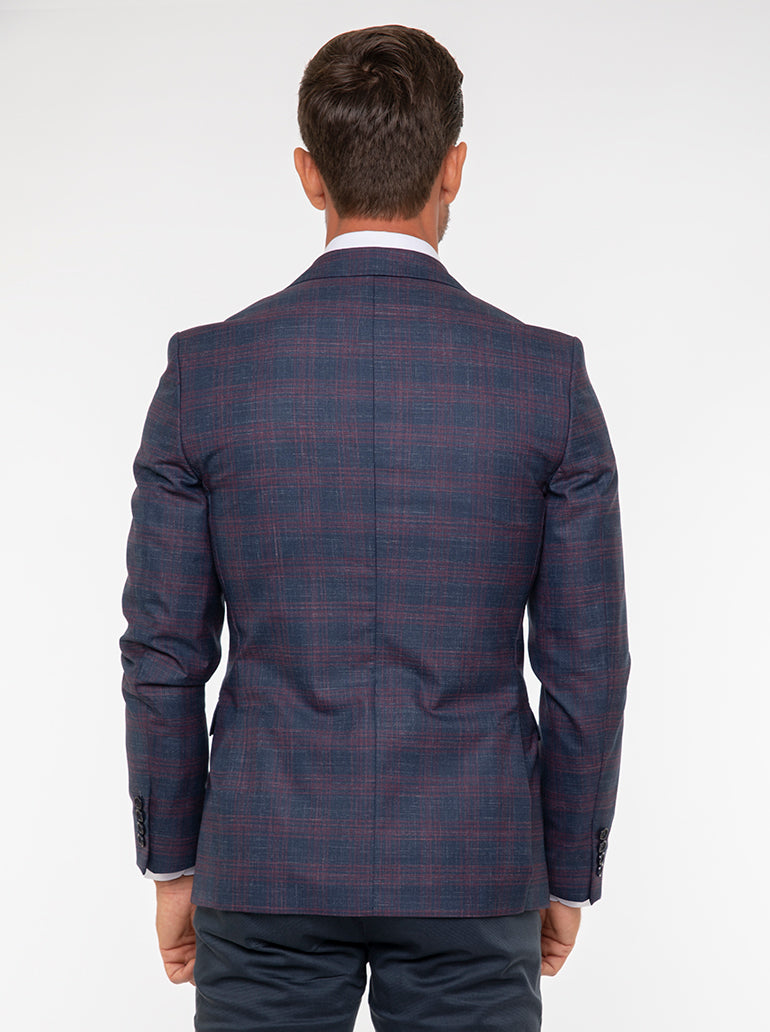 Jack Morgan Checked Navy & Maroon Blazer