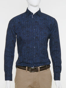 DKS BROWN SLIM FIT NAVY FLORAL CASUAL SHIRT
