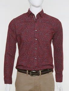 DKS SLIM FIT RED FLORAL CASUAL SHIRT