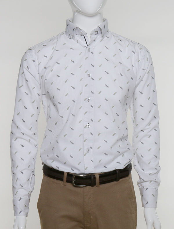 FRANCISCO TOLLI SLIM FIT CASUAL SUMMER SHIRT - PRINTED WHITE