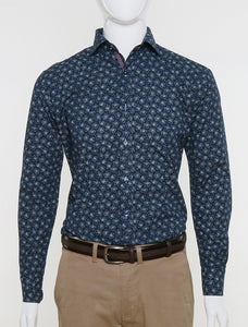 FRANCISCO TOLLI NAVY SLIM FIT FLORAL CASUAL SHIRT