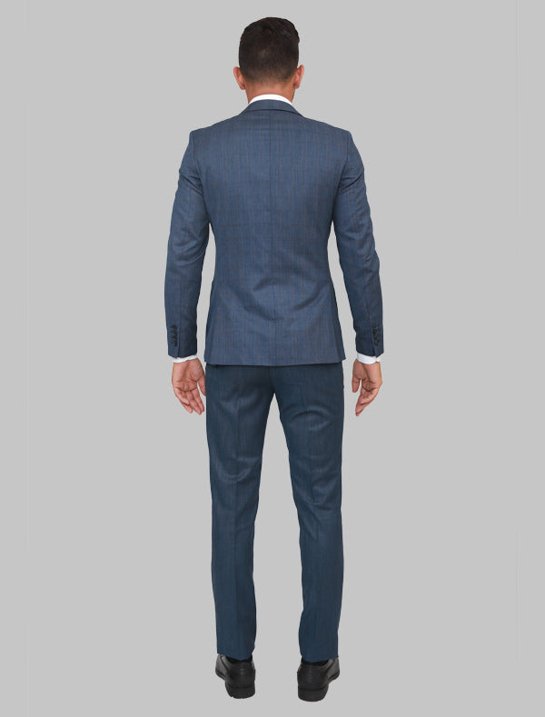 JACK MORGAN CHECKERED BLUE THREE-PIECE SUIT