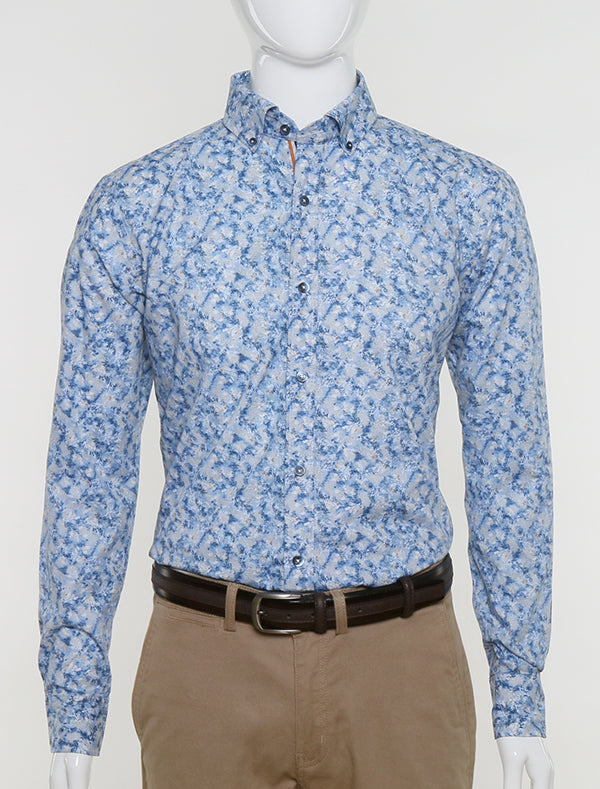 FRANCISCO TOLLI SLIM FIT CASUAL SUMMER SHIRT - PRINTED BLUE AND WHITE