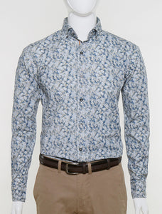 FRANCISCO TOLLI SLIM FIT CASUAL SUMMER SHIRT - PRINTED WHITE BEIGE