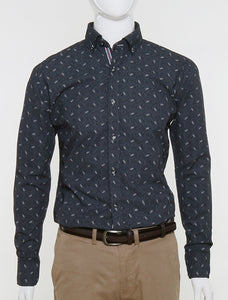 FRANCISCO TOLLI SLIM FIT CASUAL SUMMER SHIRT - PRINTED BLACK
