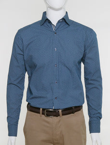 FRANCISCO TOLLI SLIM FIT CASUAL SUMMER SHIRT - PRINTED BLUE