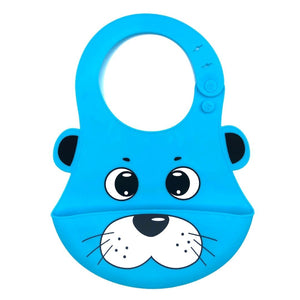 Baby Bibs Food Grade Silicone Rubber Blue Seal Design