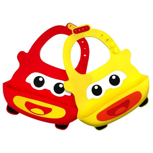 Baby Bibs Food Grade Silicone Rubber Yellow & Red Car Design